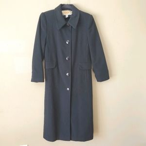 Talbots Black Wool Cashmere Trench Coat Size 2 P